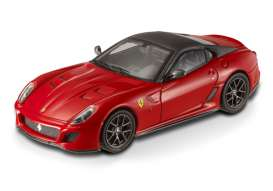 Hotwheels Elite - Ferrari  - hwmvT6267 : 2010 Ferrari 599 GTO 12 cylinder. This car is the most powerful road car ever build by Ferrari with a 670hp engine and a top speed >335 km/h. The real car will be made in a limited series of 599 cars, red with grey roof