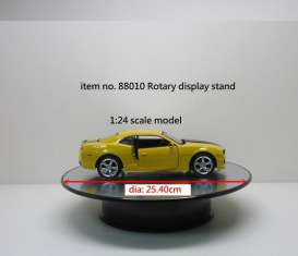 WT - Accessoires diorama - WT88010 : Rotary Display large 10inch which is about 25.4 cm with mirror surface. Good for all your 1/18 or 1/24 modelcars. Works on batteries (not included).