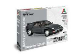 Italeri - Porsche  - ita3656S : 1977 Porsche 928 S4 *Topcars Collection* 86 PARTS REALIZED IN PRE-COLORED SPRUES +DECALS SHEET + RUBBER TIRES AND CHROMEDWHEELS, plastic modelkit