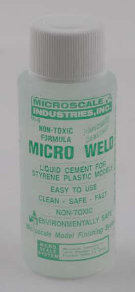 "Microscale - Micro Scale  - Micromi6 : Micro Weld. Liquid Cement for styrene Plastic models. There is nothing quite like the new Micro Weld styrene solvent cement, and you will find that application, although easier, is very much different from the old. You will also find that it is much more forgiving, stronger when dry, and will not craze clear plastic or tend to warp thin plastic parts like other cements. Since it will not """"lift"""" most paints, it can be used to repair models without repainting. No longer do you need to hold the parts together while applying adhesive to the seams. You will now have both hands free to position parts properly"