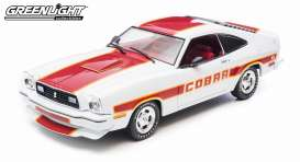 Greenlight - Ford  - gl12866 : 1977 Ford Mustang Cobra II, white with red stripes