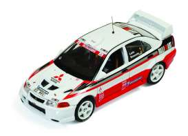 IXO Models - Mitsubishi  - ixram512 : 1999 Mitsubishi Lancer Evo VI Test version (Tarmac test) Loix/Smeets, red/white