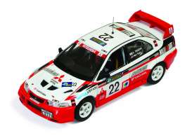 IXO Models - Mitsubishi  - ixram513 : 1999 Mitsubishi Lancer Evo VI #22 Taguchi/Teoh Rally of China, red/white