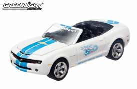 GreenLight - Chevrolet  - gl13072 : 2012 Chevrolet Camaro convertible Indianapolis 500 Event car, white/blue