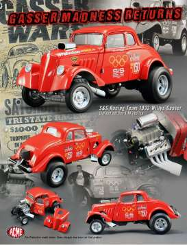 Acme Diecast - Willys  - acme1800901 : 1933 S&S Racing team Willys Gasser Dragster #150 with removable Hood, highly Detailed Engine, Detailed undercarriage, Opening Doors and many other great Acme details.