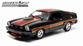 GreenLight - Ford  - gl12891 : 1978 Ford Mustang Cobra II, Black with red-yellow billboard stripes