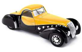 Norev - Peugeot  - nor473205 : 1937 Peugeot 302 Darl Mat Coupe, black/yellow
