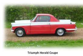 Triple9 Premium - Triumph  - T9P10017 : 1959 Triumph Herald Coupe 2-tone , red/white with black interior. Real Car Image Not Final Yet !!