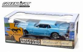 GreenLight - Ford  - gl12893 : 1967 Ford Mustang Coupe *Lone Star* bluebonnet special, light blue with Lone Star limited logo.