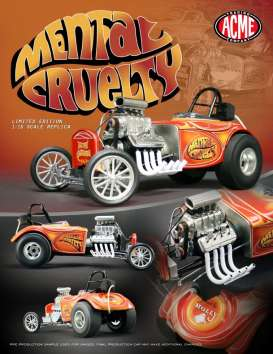 Acme Diecast - Fiat  - acme1800814 : Mental Cruelty Altered Dragster, orange/orange