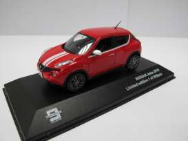 J Collection - Nissan  - T9-43034 : 2010 Nissan Juke, red with white stripes and black interior.