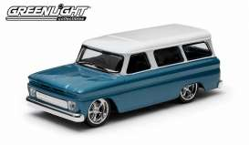 GreenLight - Chevrolet  - gl86059 : 1966 Chevrolet Suburban, blue with white roof