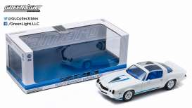 GreenLight - Chevrolet  - gl12903 : 1978 Chevrolet Camaro Z/28 t-tops removed, white with blue stripes and black interior