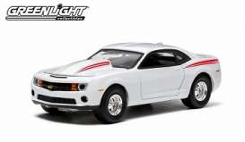 GreenLight - Chevrolet  - gl29785 : 2012 Chevrolet COPO Camaro with authentic COPO hood/engine, white with red stripes