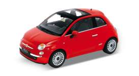 Welly - Fiat  - welly18012r : 2007 Fiat 500, red