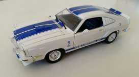 GreenLight - Ford  - gl12880T : 1976 Ford Mustang Cobra II, white with blue stripes.
