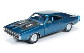 Auto World - Dodge  - AWR1139 : 1970 Dodge Charger *Resin Series*, blue/black