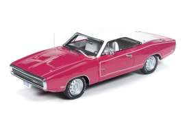 Auto World - Dodge  - AWR1140 : 1970 Dodge Charger *Resin Series*, panther pink with white roof