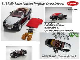 Kyosho - Rolls Royce  - kyo8641DBK : 2012 Rolls Royce Phantom Drophead Coupe Series II, diamond black with removable red soft top.