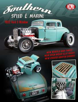 Acme Diecast - Ford  - acme1805012 : 1932 Ford 5 Window *Southern Speed & Marine*, green-blue