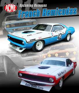 Acme Diecast - Plymouth  - AcmeCudaB : 1972 Plymouth Cuda *French Cuda's* #42, blue/white