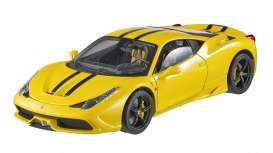 Hotwheels Elite - Ferrari  - hwmvBLY32*1 : 2013 Ferrari 458 Speciale, yellow with white & black stripes.