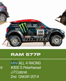IXO Models - Mini  - ixram577 : 2014 Mini All 4 Racing #300 2nd dakar rally