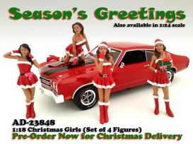 American Diorama - Figures diorama - AD23848*1 : 1/18 Xmas girls 4-pack. 4 nice Xmas girls in a nice gift set.