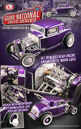 Acme Diecast - Ford  - Acme1805009*1 : 1932 Ford 5-Window Highboy *Grand National Deuce Series #4*, purple