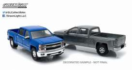 GreenLight - Chevrolet  - gl29827 : 2014-15 Chevrolet Silverado *Firstcut Series* 2-pack. One Firstcut car and one decorated car.