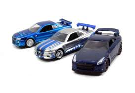 Jada Toys - Nissan  - jada14028W1-1 : 1/55 Fast and Furious 3 Pack Assortment Brain's Rides 2x Nissan Skyline GT-R(R34) and 1x Nissan GT-R(R35) , blue/silver