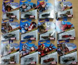 Hotwheels - Assortment/ Mix  - hwmvBDM71~12 : 1/64 Marvel Collection assortment. Mix box of 12.