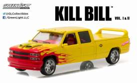 GreenLight - Chevrolet  - gl86481 : 1997 Custom C-2500 Crew Cab Silverado *Kill Bill Vol. 1 (2003) Pussy Wagon*, yellow/pink/red