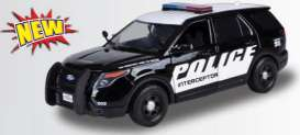 Motor Max - Ford  - mmax79534 : 2015 Ford Police Interceptor Utility-Promo with Realistic Light and Sound, black/white