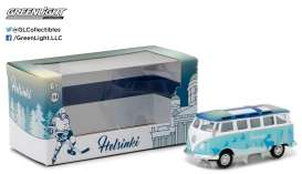 GreenLight - Volkswagen  - gl51051 : 1962 Volkswagen Samba Bus *I Love Helsinki*, white/blue in Special packaging.
