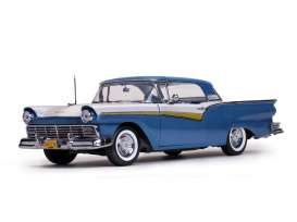 SunStar - Ford  - sun1338 : 1957 Ford Fairlane Skyliner hardtop, Dresden Blue/Colonial White