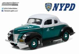 GreenLight - Ford  - gl12972 : 1940 Ford Deluxe Coupe *NYPD* Police car