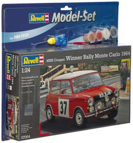 Revell - Germany - Mini  - revell67064 : Model set 1964 Mini Cooper Winner Rally Monte Carlo, plastic modelkit with glue, paint and pencil