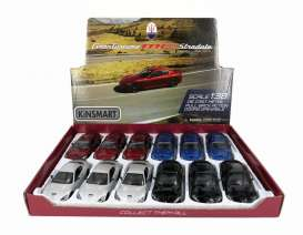 Kinsmart - Maserati  - KT5395~12 : 2015 Maserati Gran Turismo MC Stradale, Assortment tray of 12 with 4 colours in the tray (silver, blue, black, red).