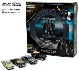 GreenLight - Assortment/ Mix  - gl59050A : Hollywood Film Reels series 5. *Supernatural* 4 cars in a nice metal Tin movie box.