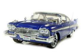 Motor Max - Plymouth  - mmax79011b*1 : 1958 Plymouth Fury custom Hot Rod with new rims, blue