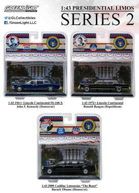 GreenLight - Cadillac Lincoln - gl86120~3 : 1/43 Presidential limos series 2. Assortment of 3