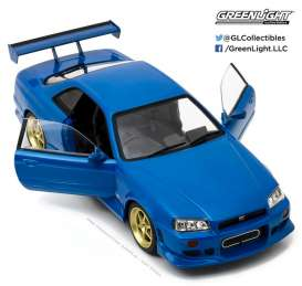 GreenLight - Nissan  - gl19032 : 1999 Nissan Skyline GT-R R34, bayside blue. Artisan Collection with opening doors