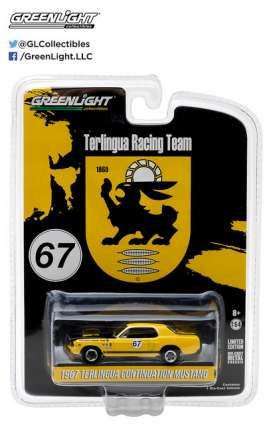 GreenLight - Ford  - gl29876 : 1967 Ford Terlingua Continuation Mustang #67 Jerry Titus & Ken Miles Racing Tribute Edition *Hobby Exclusive*, yellow/black