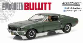GreenLight - Ford  - gl12938*2 : 1968 Ford Mustang GT fastback from the movie Bullit, Highland green