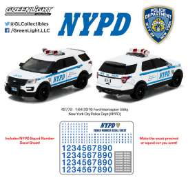 GreenLight - Ford  - gl42772 : 2016 Ford Interceptor Utility New York City Police Dept (NYPD), Hobby Exclusive *Hot Pursuit series*