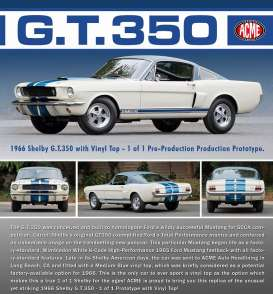 Acme Diecast - Shelby  - acme1801818 : 1966 Shelby GT350 Prototype with Vinyl top, white/blue