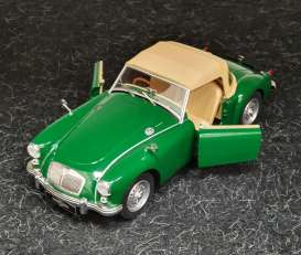 Triple9 Collection - MG  - T9-1800165 : 1959 MGA MKI Twin Cam closed soft top & Dunlop peg drive wheels. Diecast model with opening front doors, green with blue interior