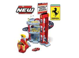 Bburago - Ferrari  - bura56096A : 1/64 Ferrari Double Lane Racing Garage + 2 Cars Laferrari and 458 Spider, red