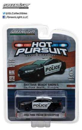 GreenLight - Ford  - gl42790B : 2014 Ford Police Interceptor Daytona Beach Shores *Hot Pursuit series 22*, Florida